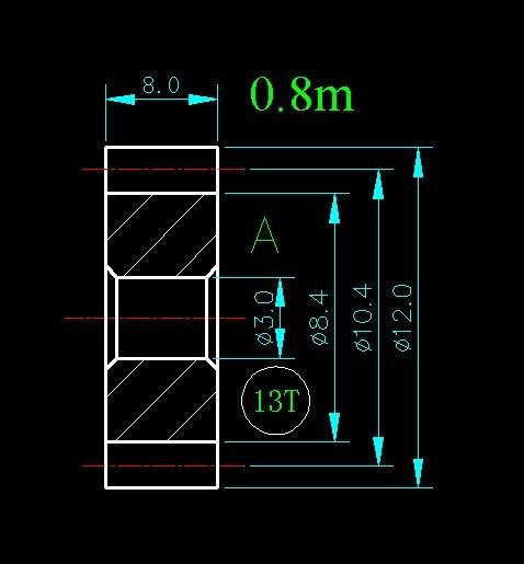 0.8m 13T/Hole 3mm 4mm 5mm/width 8mm/For Meat Grinder Parts etc. 0 8m 14t hole 3mm 4mm 5mm 6mm width 8mm for meat grinder parts etc