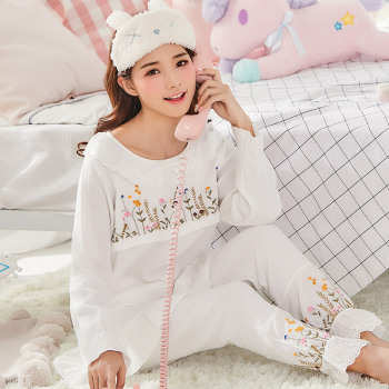 Maternity pajamas Nightwear Korean Version Embroidery Flowers Double Gauze Cotton soft Breast Feeding Nightwear Pregnant A016