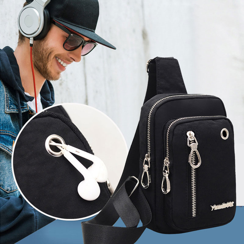 2018 Chest Bag for Men Messenger Bag with Earphone Hole Male Cool Motorcycle Sling Bag Waterproof Travel Chest Pack Shoulder Bag