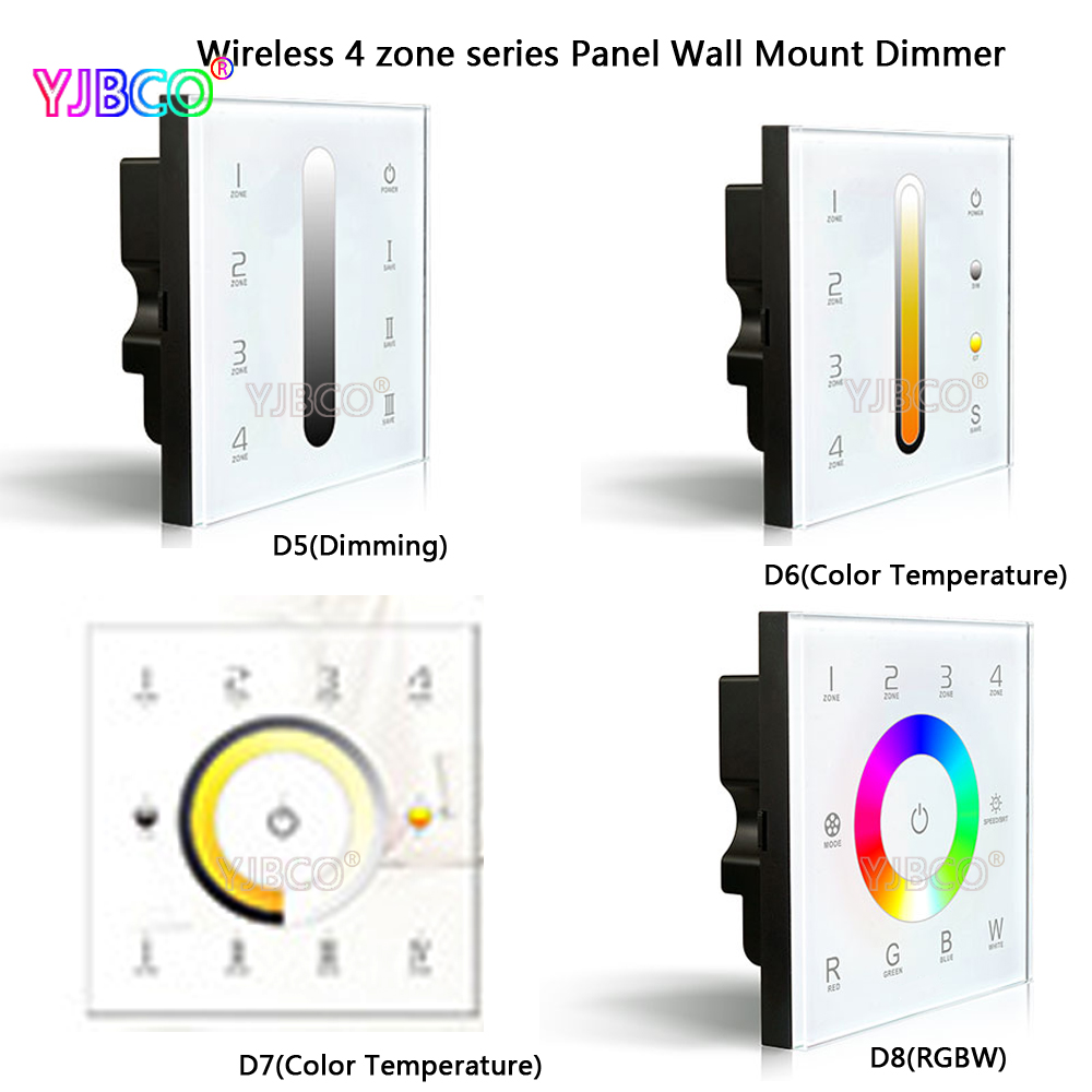 2.4G 4 Zones DC12-24V D5 D6 D7 D8 touch glass panel wall mounted dimming CT RGBW dimmer control DMX512 LED strip lamps d5 touch led controller led dimmer dmx512 4 zones control dc12 24v dimming touch panel led controller 5 year warranty