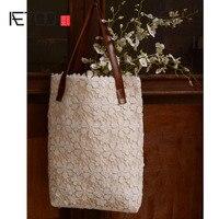 AETOO Original Handmade Custom Cotton Lace Cloth Bag Small Fresh Korean Shoulder Bag Simple Art Casual