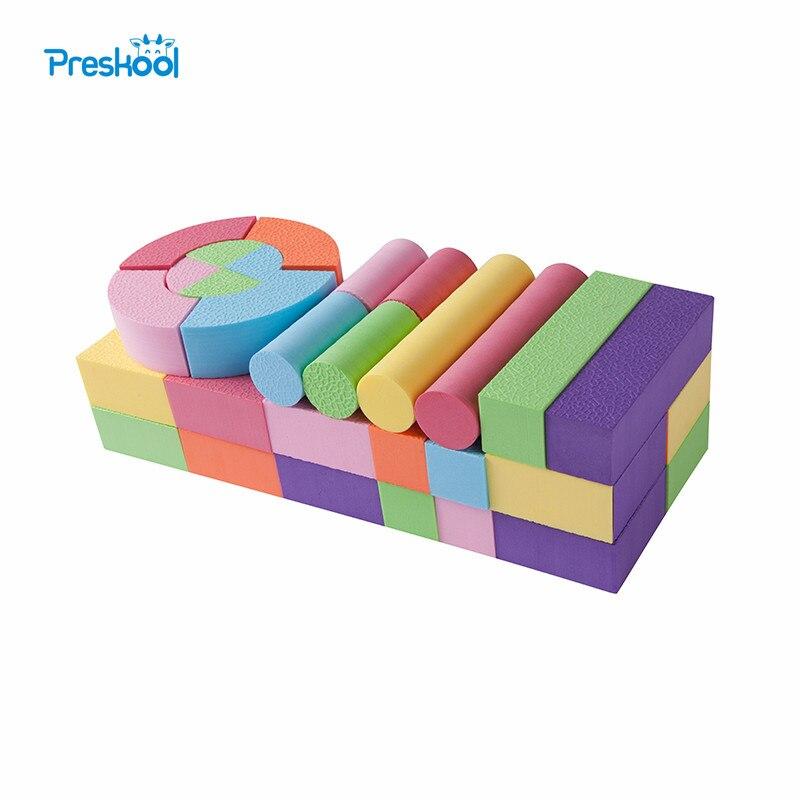 52 Pcs Brinquedos Do Bebê Blocos de Construção de Espuma Eva Não-Tóxico Não-Reciclado de Qualidade para Crianças Macio Cor Brilhante brinquedos Juguets
