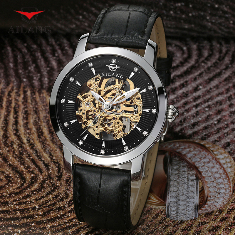 AILANG New Sports Watch Men Skeleton Automatic Mechanical Watches Gold Skeleton Vintage Man Wrist Watch Top Brand Luxury A082 đồng hồ binger bg54