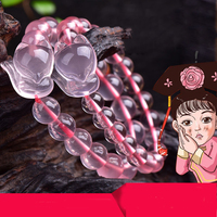 Naturale Rosa Cristallo di Figura Animale Braccialetto Stella di Ibisco Polvere di Ghiaccio di Cristallo Fidanzata Regalo