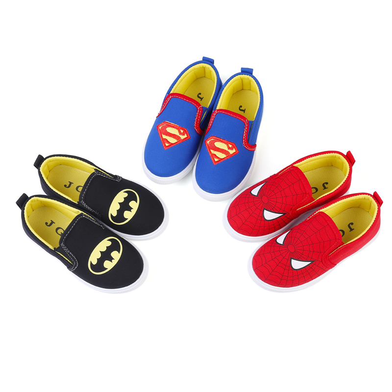 2019 New Soft Boys Shoes Spiderman Superman Batman Sneakers Running Sports Shoes Kids Casual Flats Children Loafers Creative Hot