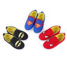 2020 nowe miękkie buty dla chłopców Spiderman Superman Batman trampki sportowe buty do biegania dla dzieci Casual mieszkania dziecięce mokasyny Creative Hot tanie tanio JGSHOWKITO RUBBER COTTON Pasuje prawda na wymiar weź swój normalny rozmiar 12 m 24 m Cotton Fabric Slip-on Drukuj spring summer autumn