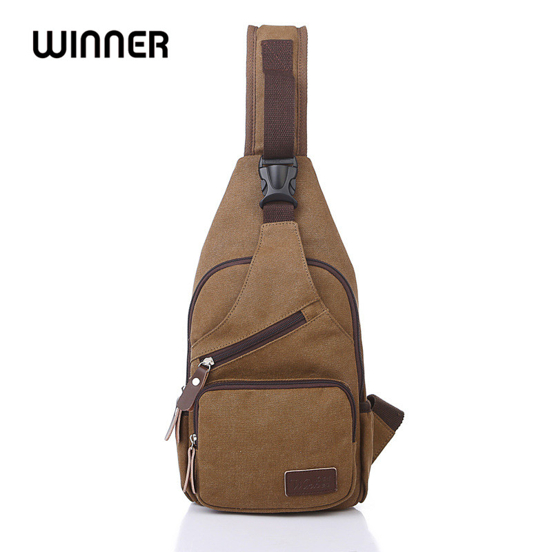 Winner Famous Brand Casual Canvas Daily Travel Vintage Messenger Bag Male Solid Color Chest Bags Small Crossbody Bag for Men high quality men canvas bag vintage designer men crossbody bags small travel messenger bag 2016 male multifunction business bag