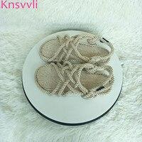 Knsvvli straw lazy shoes women flat fiberflax hand woven sandals woman peep toe beach shoes twine cane knot rome shoes summer