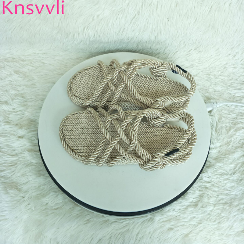 Knsvvli straw lazy shoes women flat fiberflax hand woven sandals woman peep toe beach shoes twine cane knot rome shoes summer