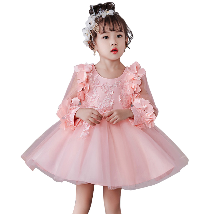 2018 Summer   Flower     Girls     Dress   Long Sleeve Wedding   Dress   For   Girl   Kids Children Clothing Party Lace Princess   Dresses   2 10 Years