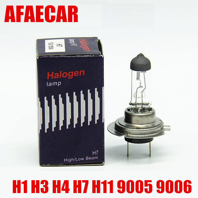 AFAECAR 1Pc H7 H11 H4 9005 9006 h3 Super Bright White Fog Halogen Bulb Car HeadLight H7 12V 55W Halogen Lamp Light Bulb 4300k