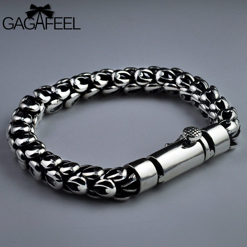 GAGAFEEL S925 Thai Silver Dragon Scale Pin Bracelet Men's Coarse Chain Handmade Vintage Fashion Personality Domineering Bracelet 925 sterling silver men bracelet dragon scale bracelet men s coarse heavy thai silver chain punk fashion personality bracelet