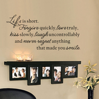 Life Is Short Wall Decal Quotes Home Decor Love Laugh Regrets Living Room Decor Photo Wall