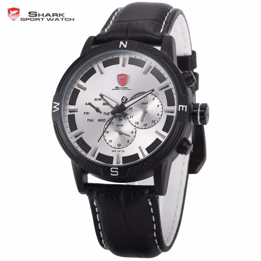 5b7c810ec3d6 Swell SHARK Reloj Deportivo Negro Blanco Resistente al Agua 6 Manos Fecha  Día Banda Cuero Movimiento de Cuarzo Reloj Militar de Pulsera para los  Hombres ...