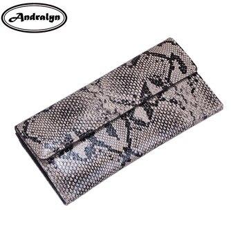 2cc39c90e Andralyn patrón de cocodrilo de cuero genuino cartera larga de grano de avestruz  carteras para mujeres carteras de embrague billetera serpentina
