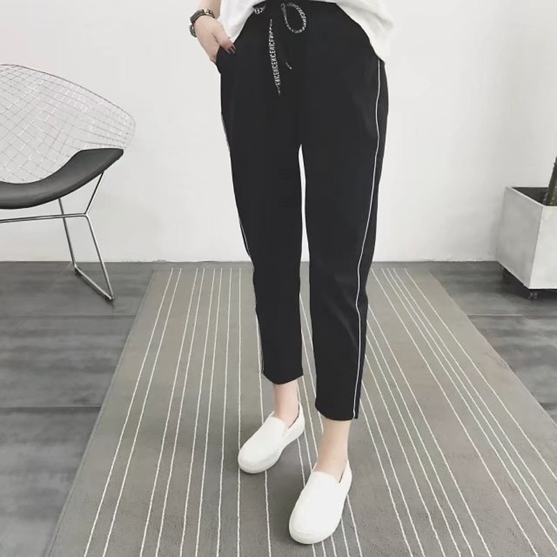 Casual Elastic Waisted Side Stripe Pant Women Loose Cotton ...