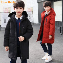 -30 degree children clothing boy clothes warm winter down cotton jacket Hooded coat Teen thicken outerwear kids waterproof parka(China)
