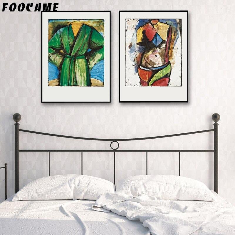Us 3 05 49 Di Sconto Foocame Ragazzi Ragazze Del Fumetto Astratta Poster E Stampe D Arte Su Tela Dipinto Moderno Decorazione Della Casa Pitture