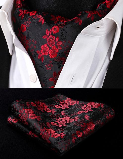 RF3001US Burdeos Negro Floral de Los Hombres De Seda Corbata Ascot Corbata Pañuelo Set Pocket Square Wedding Party Classic