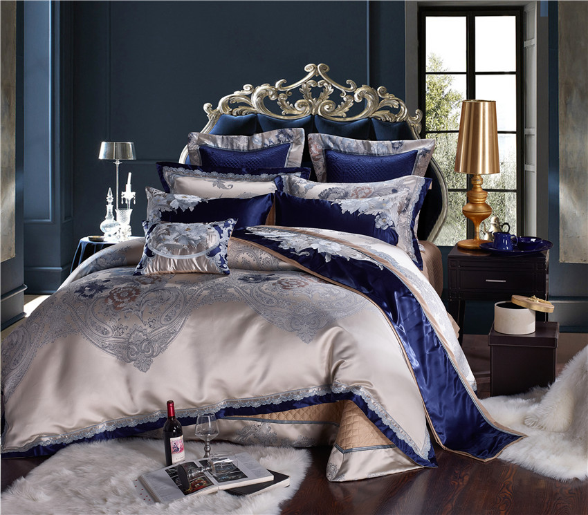Blue Silver Silk Cotton Satin Jacquard Luxury Chinese Bedding Set Queen King Size Bedding Set Bed Sheet/Spread Set Duvet Cover