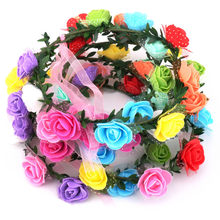 12 Heads Rose Flower Crown Headband Wreath Party Wedding Bridal Hairband Headwear Hair Accessories Prom Head Wrap Girls Gift(China)