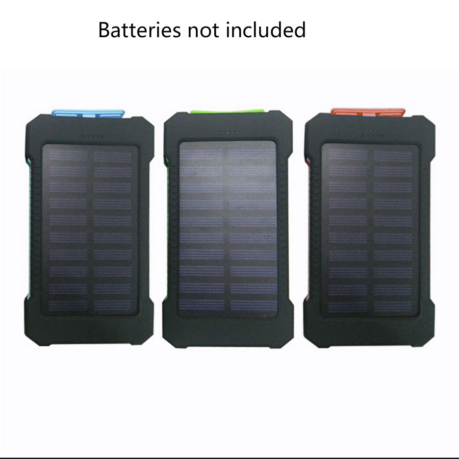 10000mAh LED Dual USB Ports Solar Panel Power Bank Case DIY Kits Box for Samsung S8 Xiaomi USB External Batteries not included