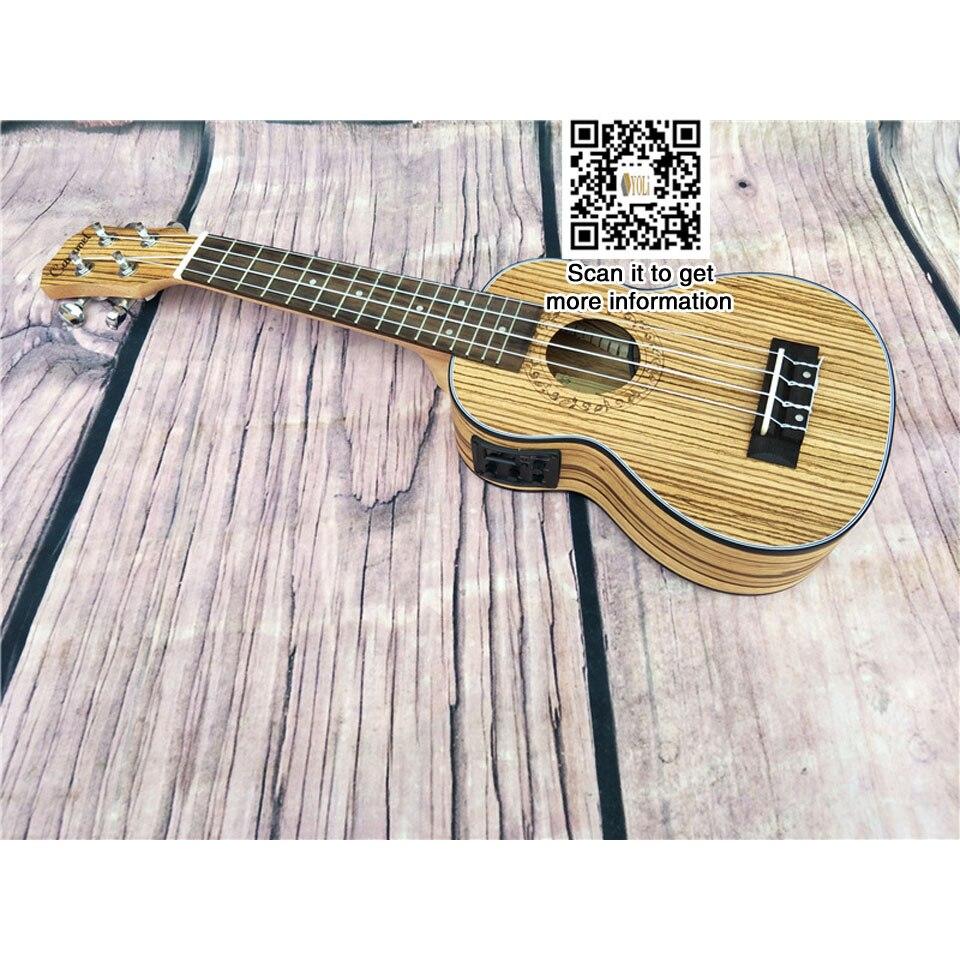 Boîte électrique en bois zèbre 21 pouces EQ ukulélé 4 cordes petite guitare ukulélé 15 caractères
