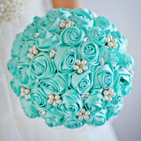 Free Shipping Tiffany Blue Rose Bridal Brooch Bouquet Wedding Bride S Jewelry Pearl Rhinestone Bouquets Holding