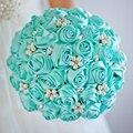 Бесплатная доставка Тиффани Синий Розы свадебный брошь букет Невесты Свадьба Ювелирные Изделия Перлы Rhinestone Букет с цветами в Руках