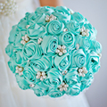 Free shipping Tiffany Blue  Rose bridal brooch bouquet Wedding Bride 's  Jewelry Pearl Rhinestone  Bouquets Holding flowers