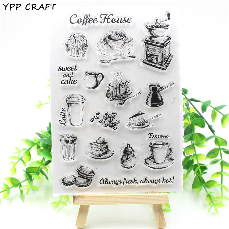 YPP CRAFT Coffee Shop Transparent Clear Silicone Stamp/Seal for DIY scrapbooking/photo album Decorative clear stamp about lovely baby design transparent clear silicone stamp seal for diy scrapbooking photo album clear stamp paper craft cl 052
