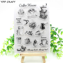 YPP CRAFT Coffee Shop Transparent Clear Silicone Stamp/Seal for DIY scrapbooking/photo album Decorative clear stamp(China)