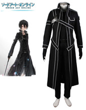 Envío Libre Batidor de Espadachín Negro Espada de Arte En Línea Kirigaya Kazuto/Kirito Anime Cosplay Costume