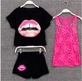 Summer Girls Clothing Sets Lips Pattern Lace Kids Set Girl Sport Suit T shirt+Shorts+Vest 3 Pieces Set Girls Clothes