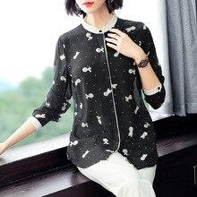 цена на 100% Silk Stand Neck Long Sleeve Print Blouse 2019 New Women Spring Summer Office Lady Work Single Breasted Shirts