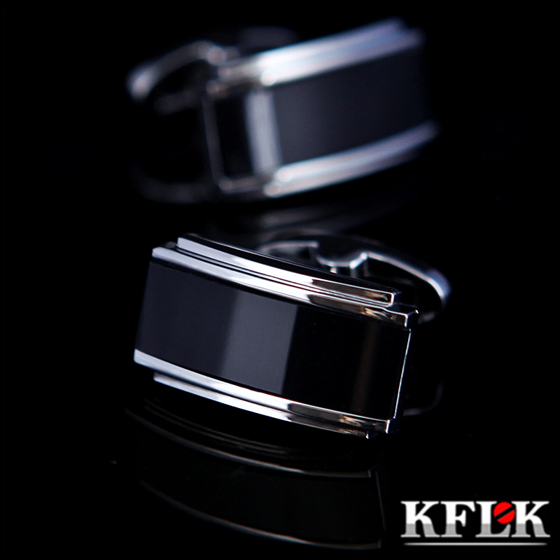 KFLK Schmuck hemd manschettenknopf für herren designer Marke Schwarz manschettenknopf französisch Taste Hohe Qualität Luxus Hochzeit männlich Freies Verschiffen