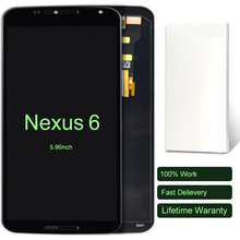 10pcs For Motorola Nexus 6 LCD Display 5 96 Inch Black XT1100 XT1103 Touch Screen Panel