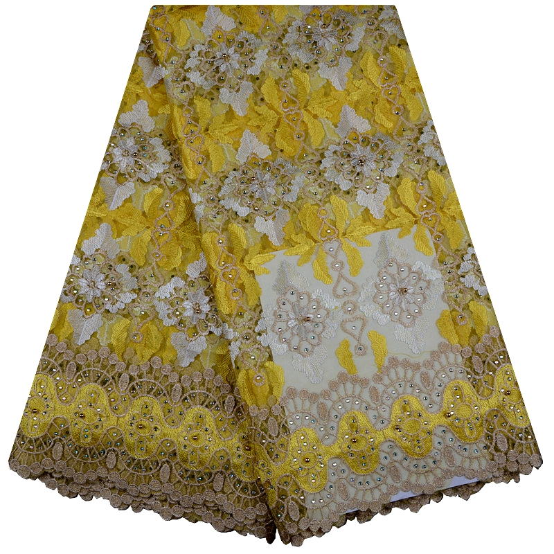 Latest African Laces Fabrics Embroidered African Guipure French Lace Fabric With Beads 2018 African French Net