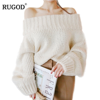 RUGOD 2018 New Fashion Winter one neck sexy elastic knitting pullover female Bat long sleeve knitted sweater women sweters women