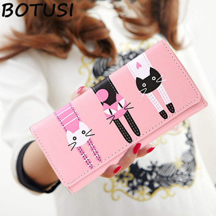 BOTUSI 2018 Leather Women Wallet Hasp Coin Pocket Purse Women Wallets Cards Holders  Ladies PU Leather  Three Cute Cartoon Cat