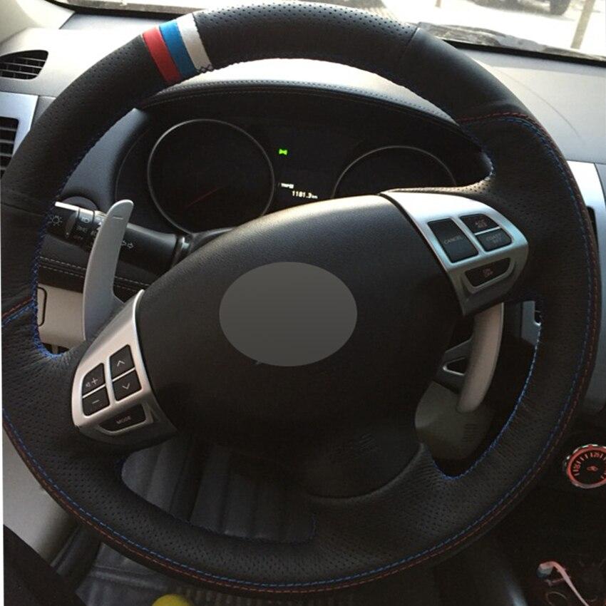 Black Genuine Leather Car Steering Wheel Cover for Mitsubishi Lancer EX 10 Lancer X Outlander ASX Colt Pajero Sport