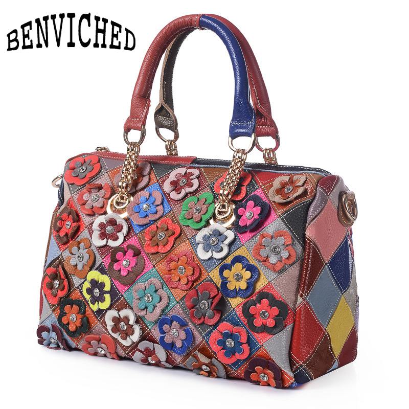 BENVICHED 2019 Womens Colourful Flowers Patch Shoulder Bag Fashion Genuine Cow Leather Tote Handbag Plaid Messenger Bag B027BENVICHED 2019 Womens Colourful Flowers Patch Shoulder Bag Fashion Genuine Cow Leather Tote Handbag Plaid Messenger Bag B027