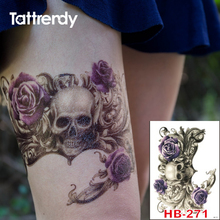 Punk Big Purple Rose Death Skull Temporary Tattoo Waterproof Men Women Arm Sticker Sleeve Body On Body Shoulder Tattoos HB271