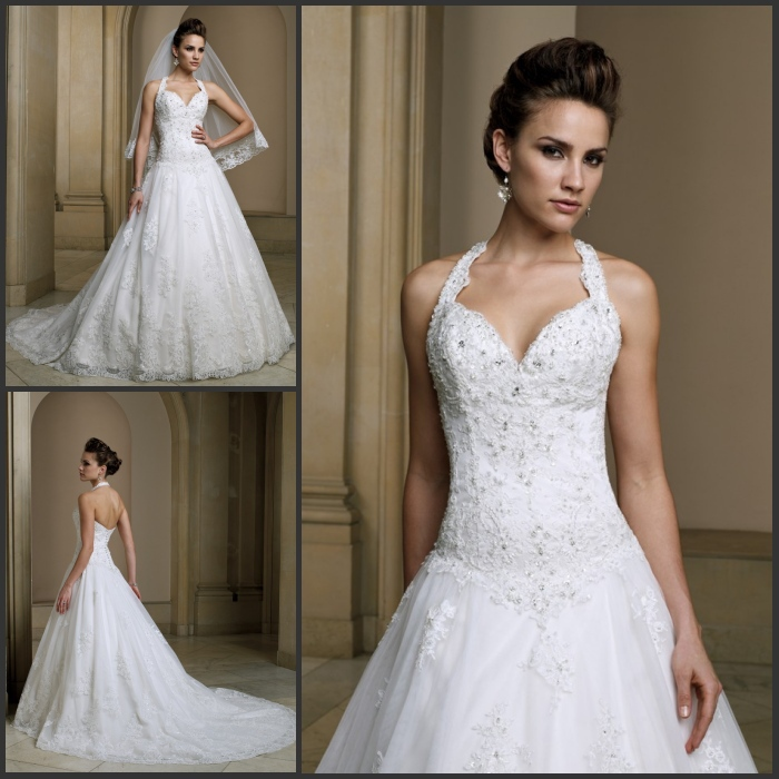 Bodice Wedding Gown: Glamorous Halter Corset Bodice Sheer Wedding Gown Floor