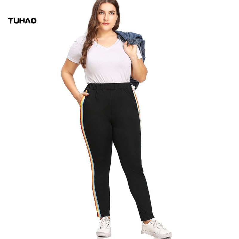 cce427aaab1 Detail Feedback Questions about TUHAO plus size trousers 2018 spring Summer  Women Casual Big Size Pant Bodycon Colorful Striped Black Female Leisure  Pants ...