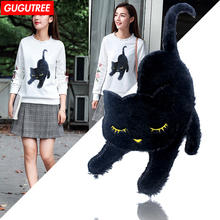 GUGUTREE chenille embroidery patches big black cats patches,insect patch, badges for jackets