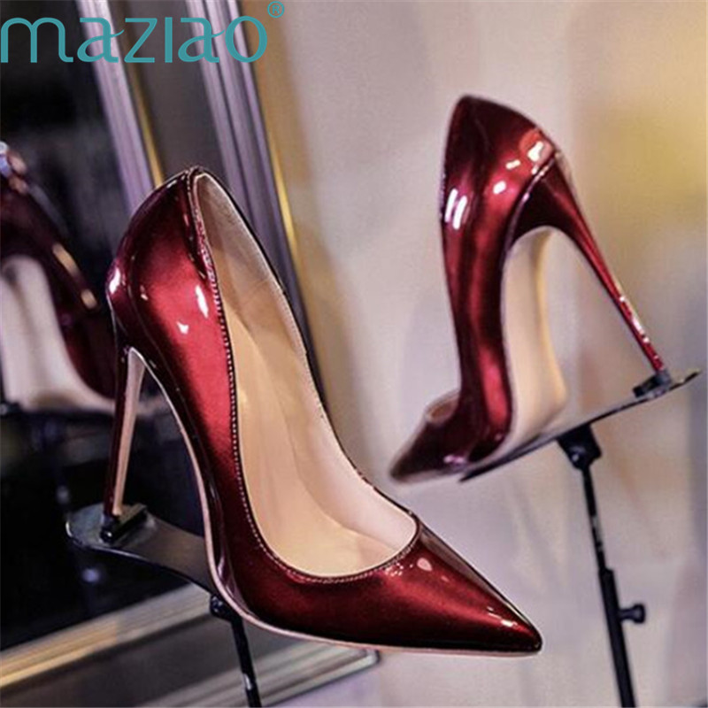 Women Shoes Pointed Toe Shallow Mouth Super High Heel Rubber Elegant Shoes Woman High Heel Sexy Blue Wine Red MAZIAO