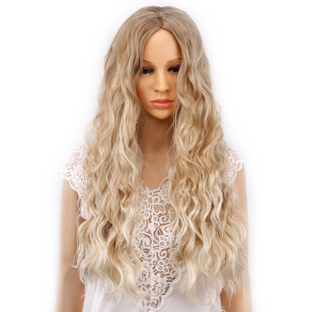 Amir Long Wigs for Women Ombre Blonde Curly Wigs Synthetic High Temperature Fiber Hair Full Wig Cosplay