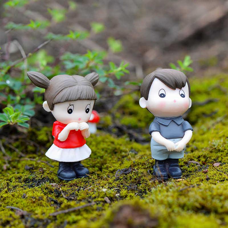 4PCS Sweety Lover Figurine Wedding Couple Miniature Bonsai Ornament Decoration Garden Cartoon Character Fairy Garden Miniatures