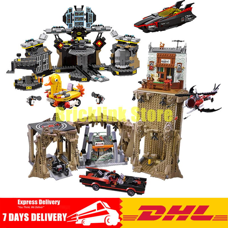 2018 DHL Lepin 07052+07053 The Batcave Break-in+Batman Classic TV Series-Batcave Building Blocks Bricks Toys 70909 76052 lepin 07052 1047pcs super heroes batman batcave break in diy model building blocks gifts batgirls movie toys compatible 70909